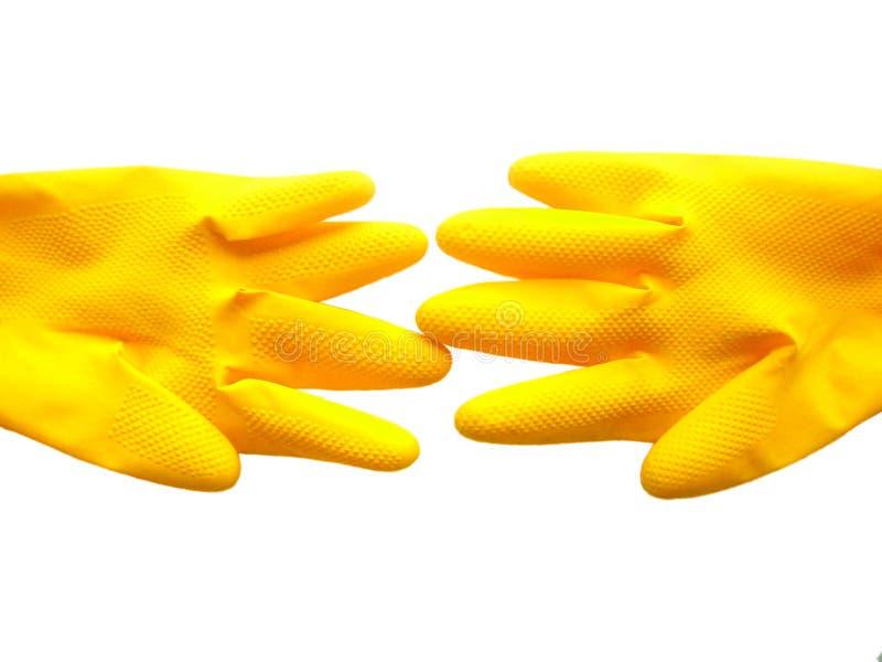 Luvas amarelas isoladas. imagens de stock royalty free