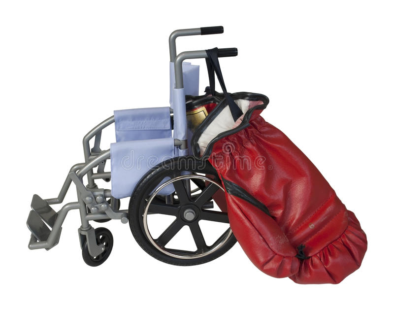 Luvas da cadeira de rodas e de encaixotamento fotografia de stock royalty free