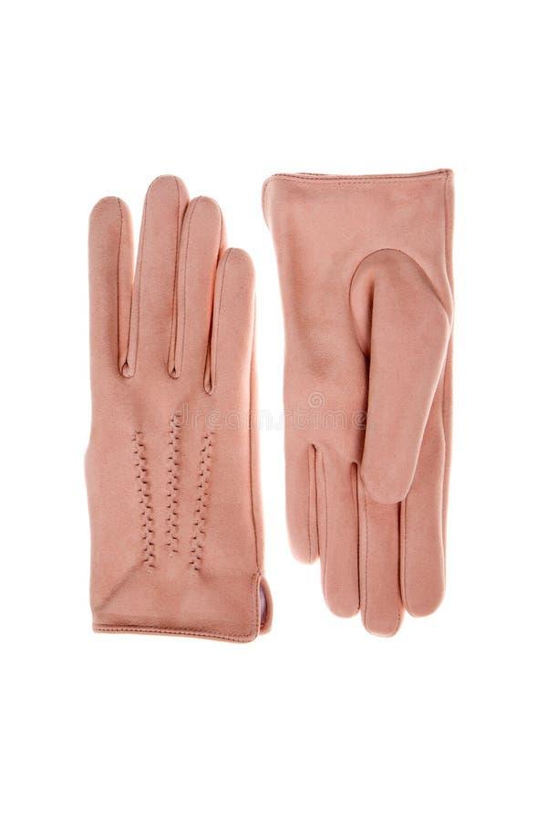 Luvas de camurça cor-de-rosa foto de stock