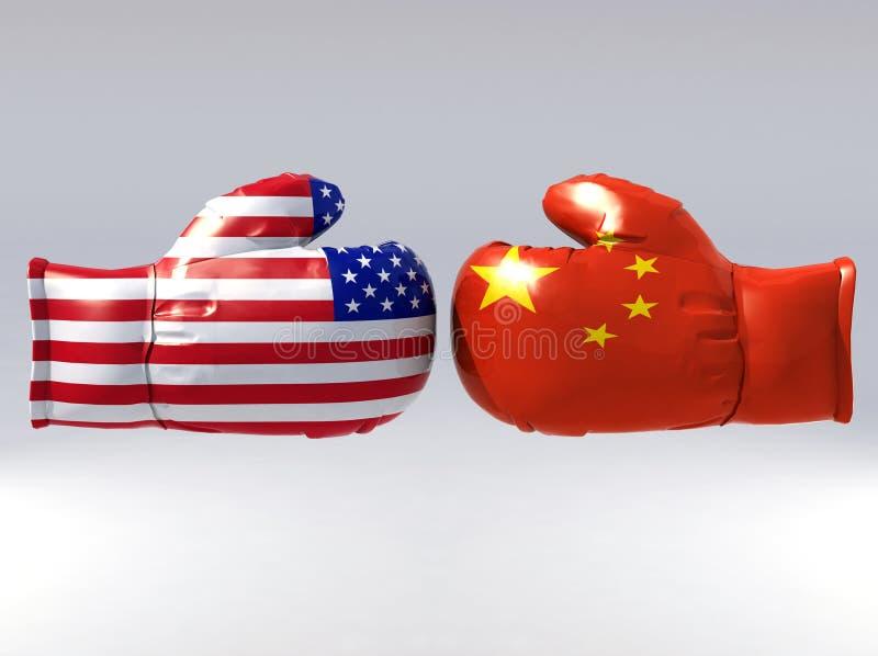 Luvas de encaixotamento com a bandeira dos EUA e da China ilustração do vetor