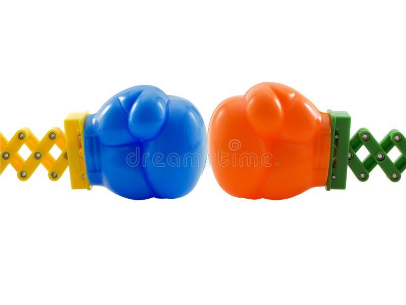 Luvas de encaixotamento do brinquedo foto de stock