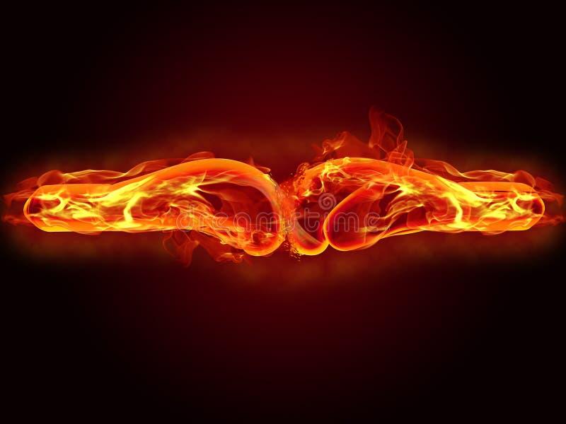 Luvas de encaixotamento no fogo ilustração stock
