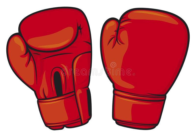 Luvas de encaixotamento vermelhas ilustração stock