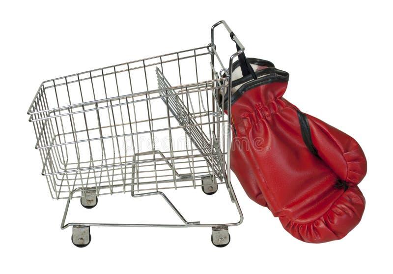 Luvas do carrinho de compras e de encaixotamento fotos de stock