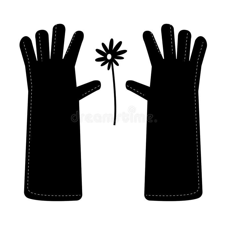 Luvas do jardim em um estilo simples Daisy Flower ilustração royalty free