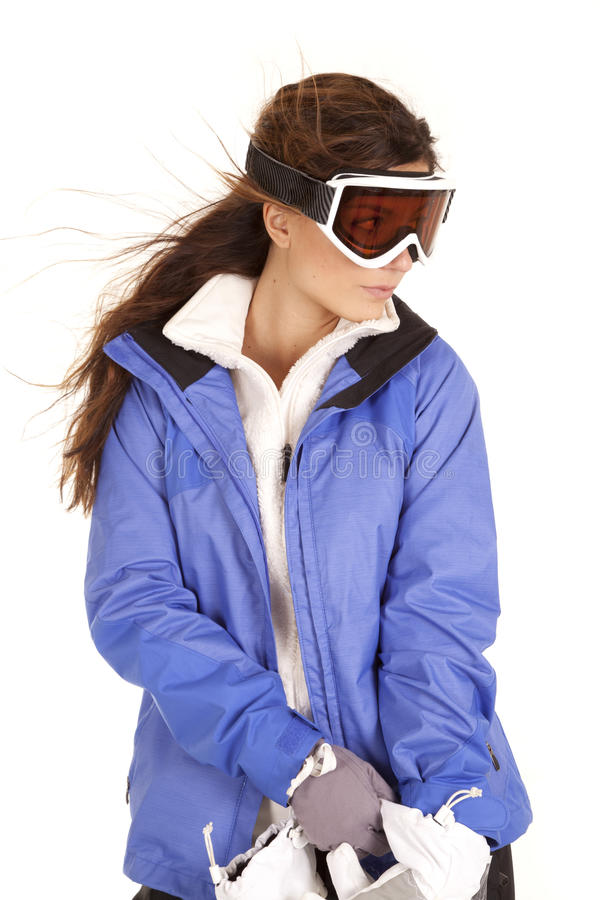 Luvas dos óculos de proteção do esqui da mulher fotos de stock royalty free