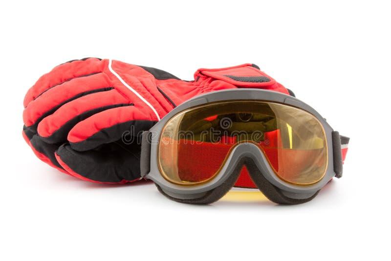 Luvas e óculos de proteção do esqui fotos de stock royalty free