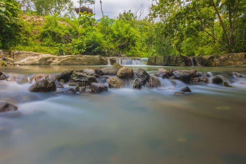 Luweng Sampang瀑布印度尼西亚日惹 免版税库存图片