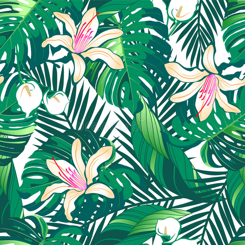 A luxúria tropical floresce o teste padrão sem emenda em um fundo branco ilustração do vetor