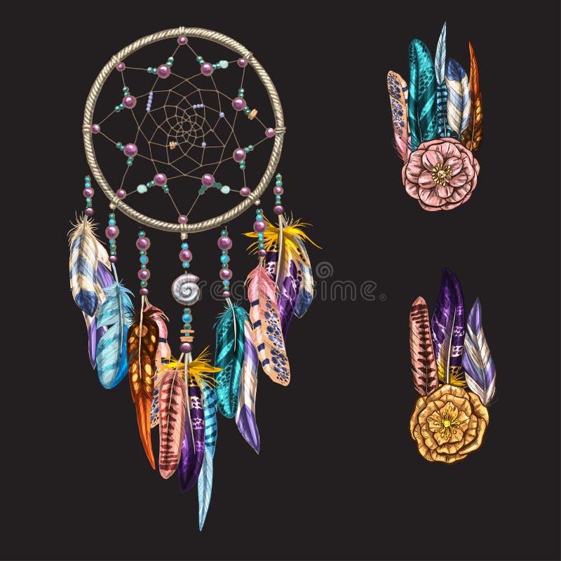 Luxary overladen Dreamcatcher met veren, halfedelstenen Astrologie, spiritualiteit, magisch symbool Etnisch stammenelement royalty-vrije illustratie