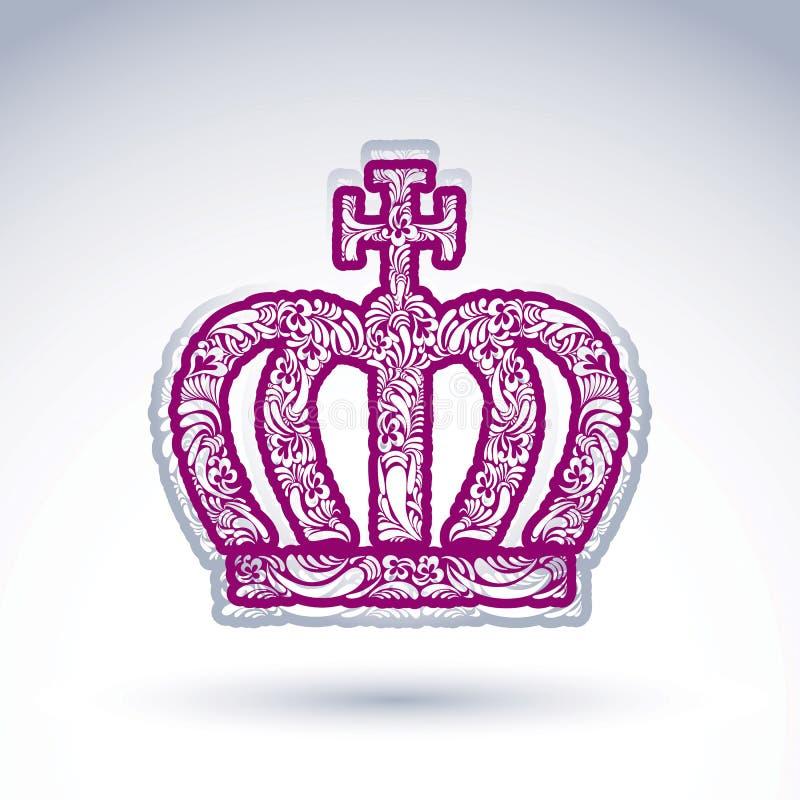 Luxe bloem-gevormde kroon met Christendomkruis, keizer a stock illustratie