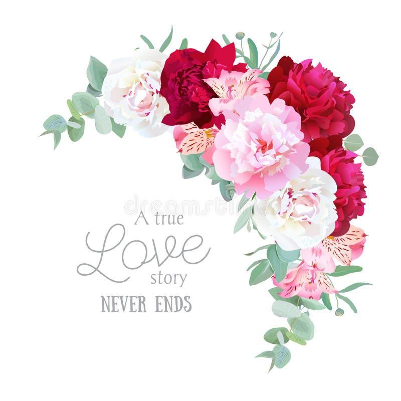 Luxe bloemen toenemend vectorkader met pioen, alstroemerialelie, munteucaliptus en ranunculus bladeren op wit royalty-vrije illustratie