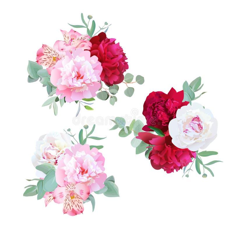 Luxe bloemenboeketten van pioen, alstroemerialelie, munteucaliptus en ranunculus bladeren op wit stock illustratie
