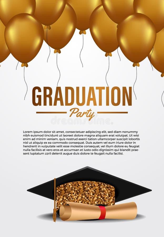 Luxe ceremonie van de promotiepartij in het kader van de posterbanner, met gouden glittergraduatie-cap met golden vliegende ballo royalty-vrije illustratie