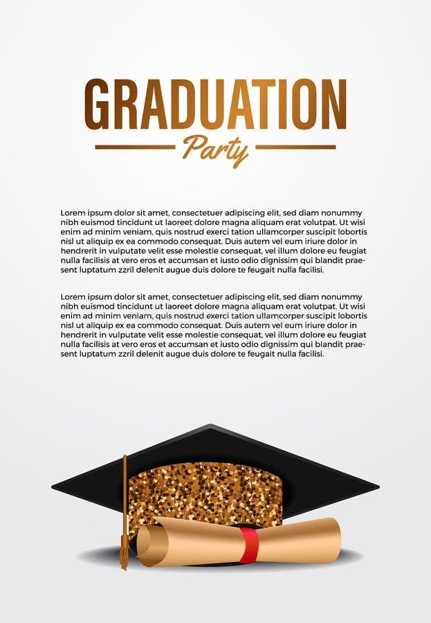 Luxe ceremonie van de promotiepartij in de ceremonie van de poster met gouden glitter-graduatiekap vector illustratie