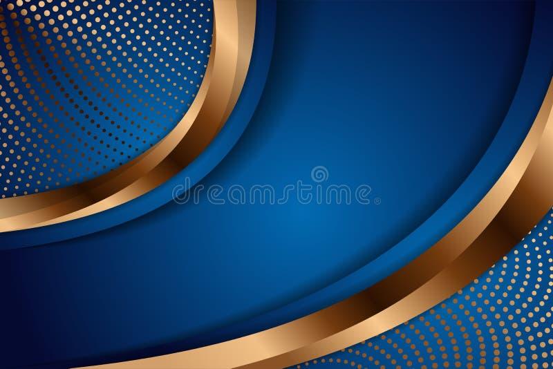 Luxe donkerblauwe overlappende afmeting achtergrond op metalen puntpatroon royalty-vrije illustratie