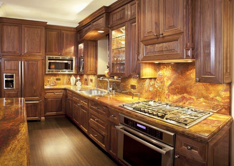 Luxe, eigentijdse keuken. stock afbeeldingen