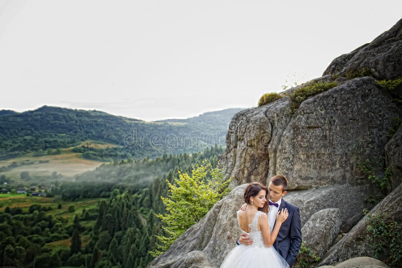 Luxe gelukkige bruid en modieuze bruidegom die elkaar met tien koesteren stock afbeelding