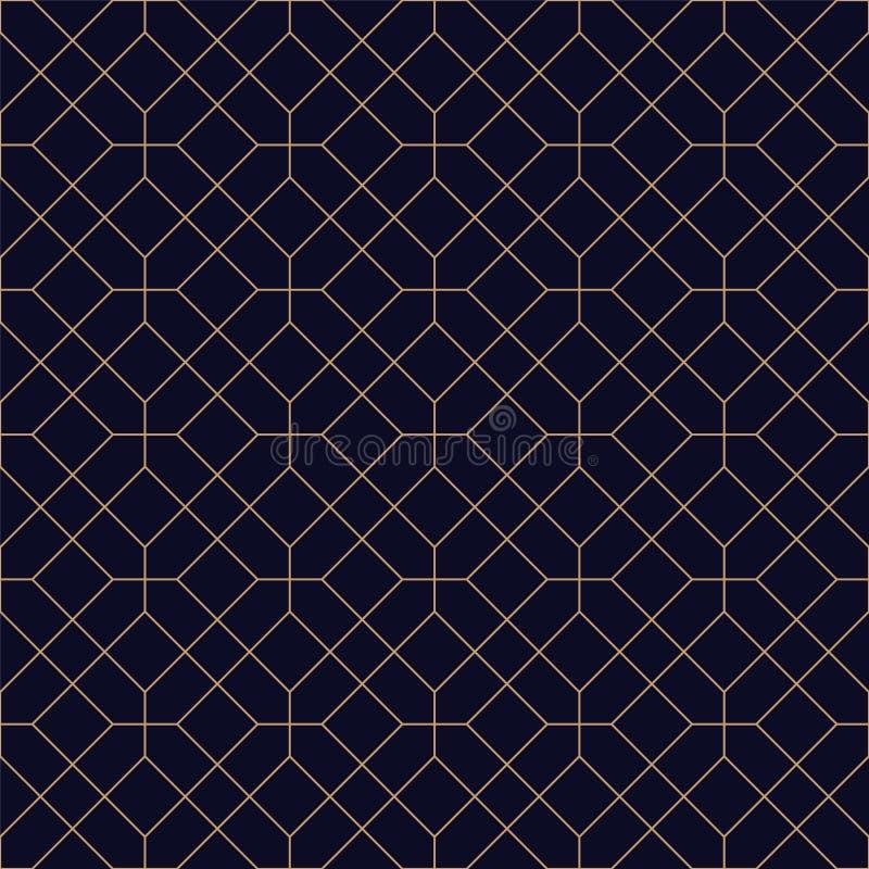 Luxe geometrische naadloze sierachtergrond Net herhaalbaar gouden patroon - elegant blauw symmetrieontwerp vector illustratie