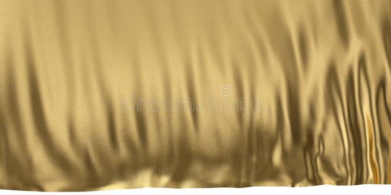 Luxe gouden achtergrond gouden doek 3D illustratie stock illustratie