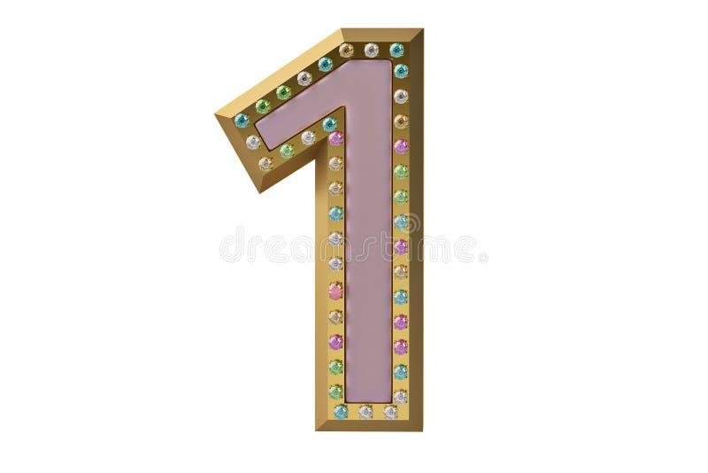Luxe gouden die alfabet met diamanten op witte backgroun wordt geïsoleerd vector illustratie
