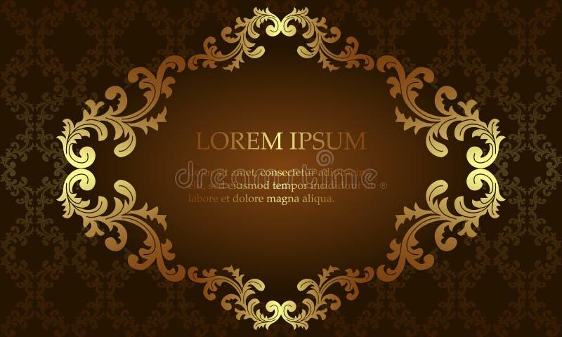 Luxe Koninklijke achtergrond, gouden antiek patroon en naadloze damastachtergrond, model voor uitnodigingen, kaarten Vector illus stock illustratie