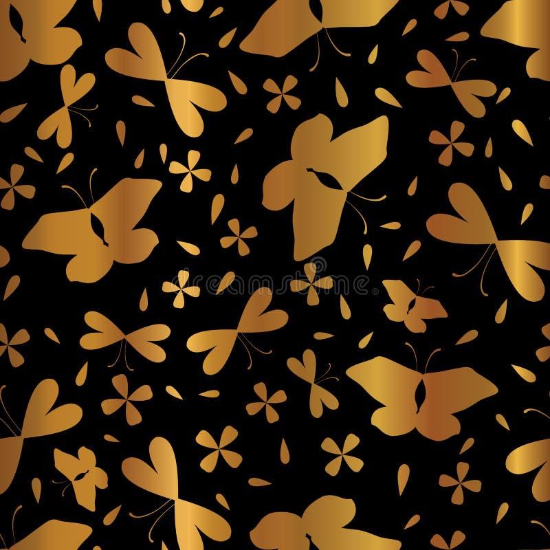 Luxe kopparguld på sömlös vektormodell för svarta fjärilar vektor illustrationer