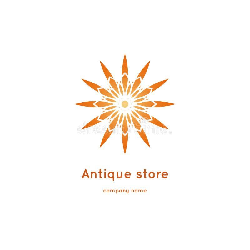 Luxe logotype voor antieke opslag Volumetrische gouden grote knop Caleidoscoop royalty-vrije illustratie