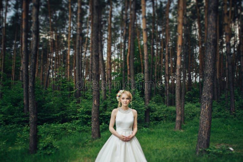 Luxe modieuze jonge bruid en bruidegom op de achtergrondlente su stock foto's