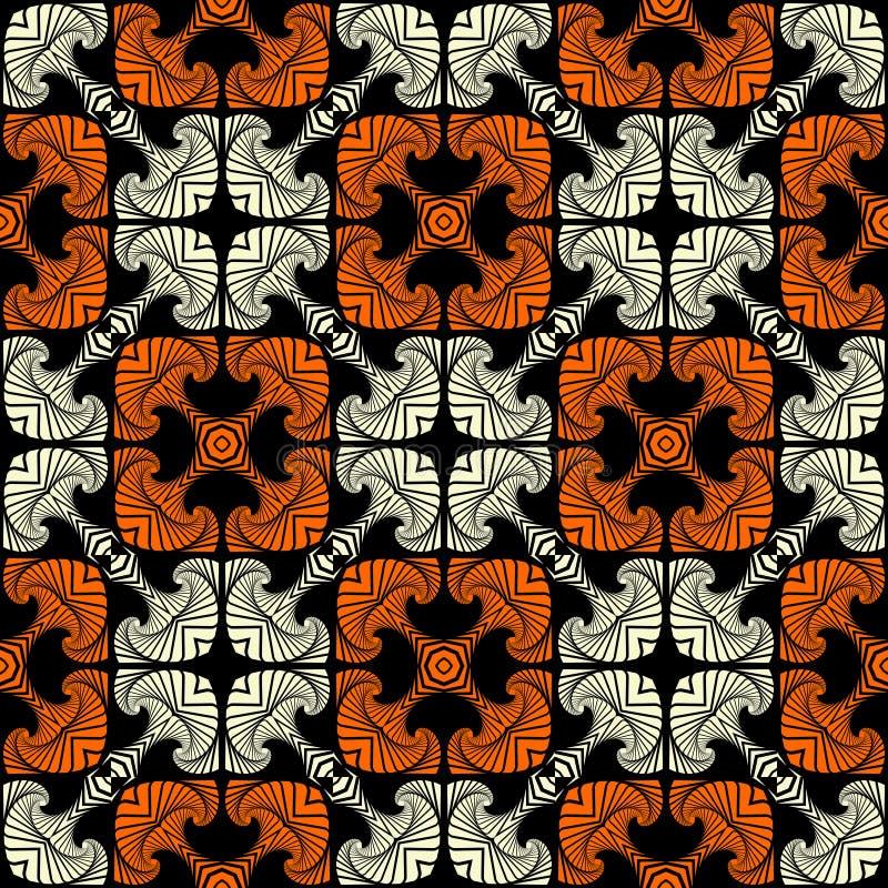 Luxe naadloos patroon met decoratief ornament van witte en oranje schaduwen op zwarte achtergrond stock illustratie
