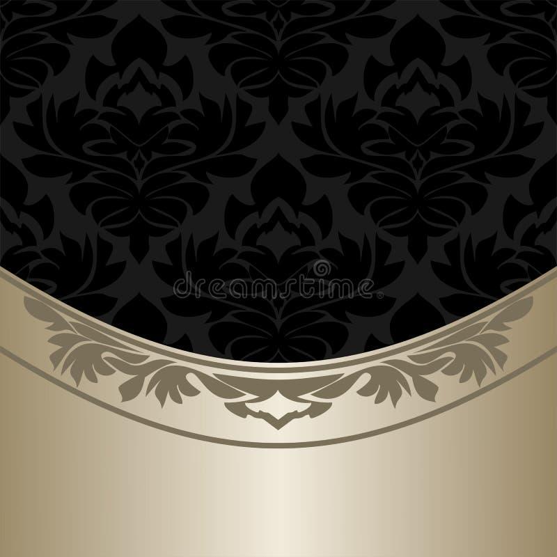 Luxe overladen zwarte Achtergrond met elegante zilveren Grens stock illustratie