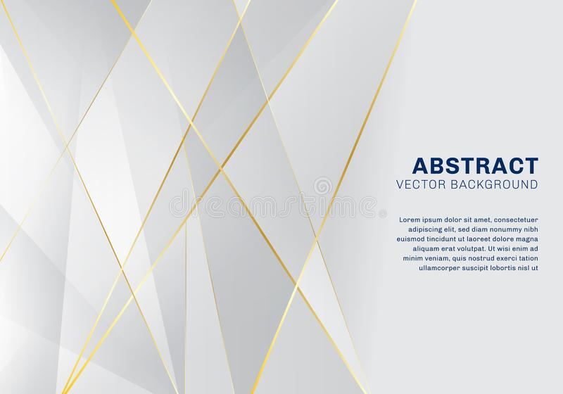 Luxe polygonal abstrait de modèle sur le fond blanc et gris avec les lignes d'or illustration de vecteur