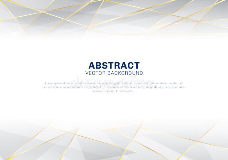 Luxe polygonal abstrait de modèle sur le fond blanc et gris d'en-tête avec les lignes d'or illustration de vecteur