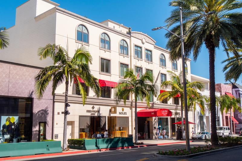 Luxe Rodeo Drive hotell i Beverly Hills - KALIFORNIEN, USA - MARS 18, 2019 arkivfoton