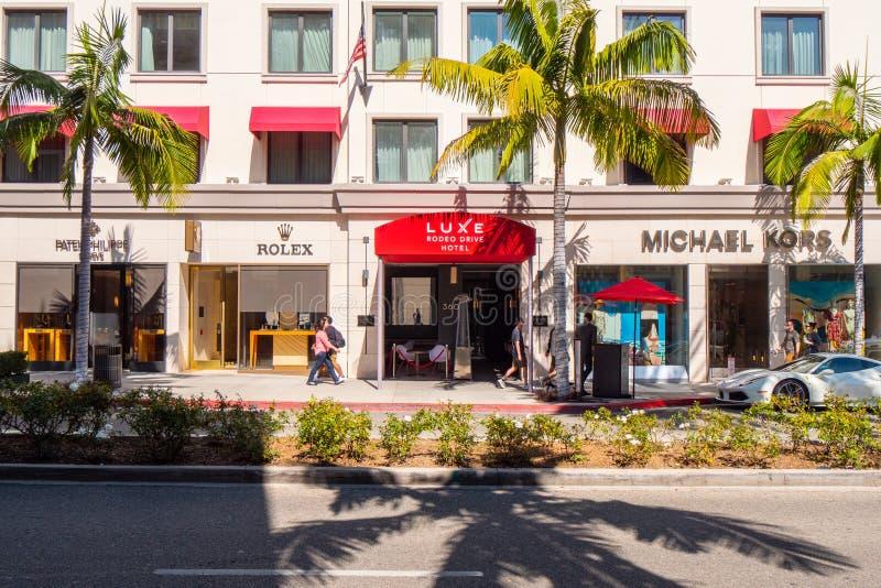 Luxe Rodeo Drive hotell i Beverly Hills - KALIFORNIEN, USA - MARS 18, 2019 arkivfoto
