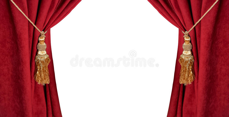 Luxe rood die gordijn met een leeswijzer en een kabel op wit wordt geïsoleerd stock foto's