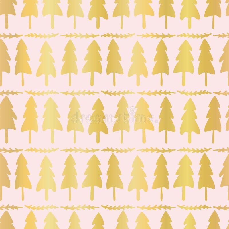 Luxe Rose Gold Christmas Tree Pattern, nahtloser Vektor-Hintergrund, gezeichnet stock abbildung