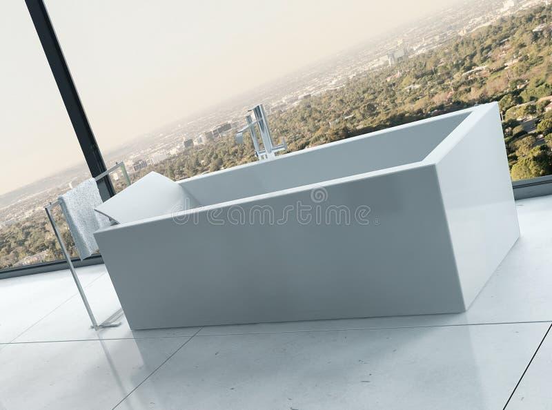 Luxe witte badkuip tegen panoramische venster en landschapsmening stock illustratie