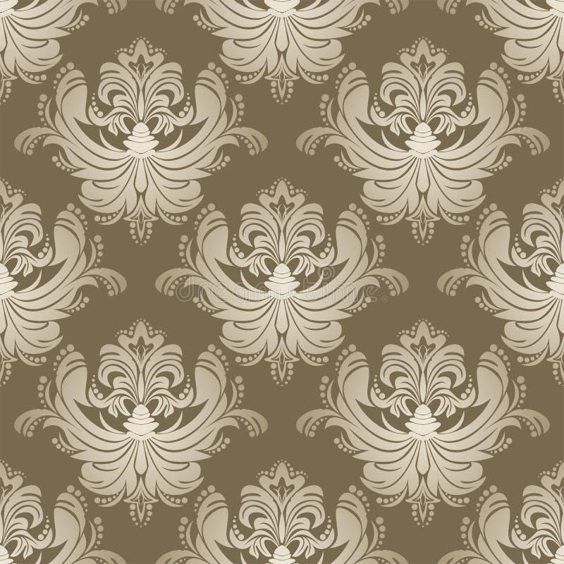 Luxe zilveren naadloos bloemenbehang voor Dessign stock illustratie