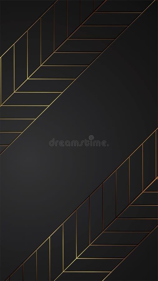 Luxe zwarte achtergrondbanner vectorillustratie met het gouden patroon van het strookart deco stock illustratie