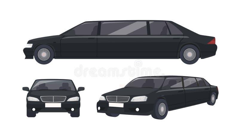 Luxe zwarte die limousine op witte achtergrond wordt geïsoleerd Elegant premie luxueus motorvoertuig, auto of auto Reeks van royalty-vrije illustratie