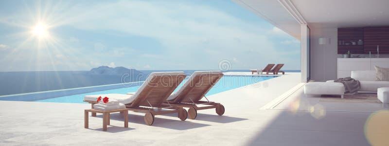 Luxe zwembad de kleur geeft uit het 3d teruggeven royalty-vrije illustratie