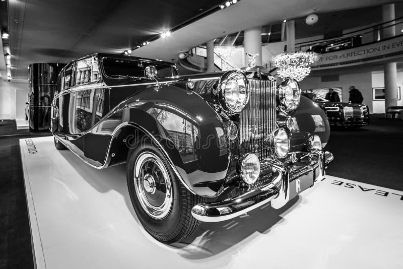 Luxeauto Rolls-Royce Phantom IV sedanca DE ville limousine, 1952 Coachwork door Hooper van Londen royalty-vrije stock foto's