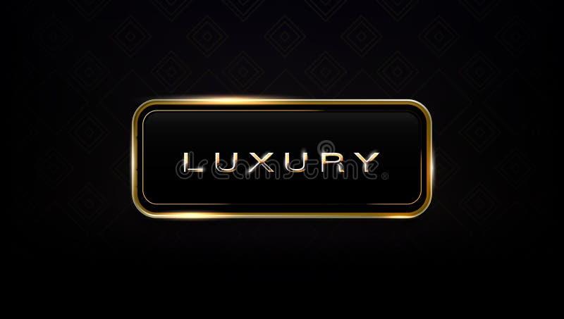 Luxeglas en het Gouden Malplaatje van het Kader Donkere Etiket stock illustratie