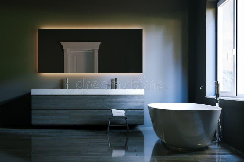 Luxehi-tech badkamers met groot spiegel en venster 3d geef terug royalty-vrije illustratie