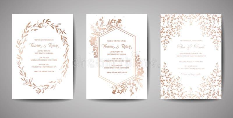 Luxehuwelijk sparen de Datum, de Inzameling van Uitnodigingskaarten met Gouden Foliebloemen en Bladeren en Kroon in dekking vector illustratie