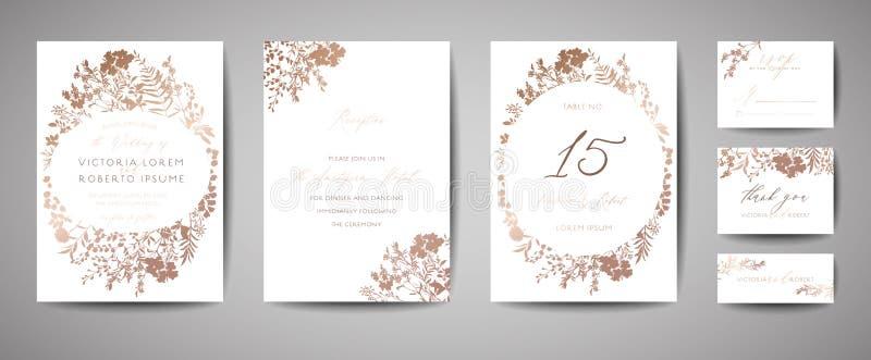 Luxehuwelijk sparen de Datum, de Inzameling van Uitnodigingskaarten met Gouden Foliebloemen en Bladeren en Kroon Vector in dekkin royalty-vrije illustratie
