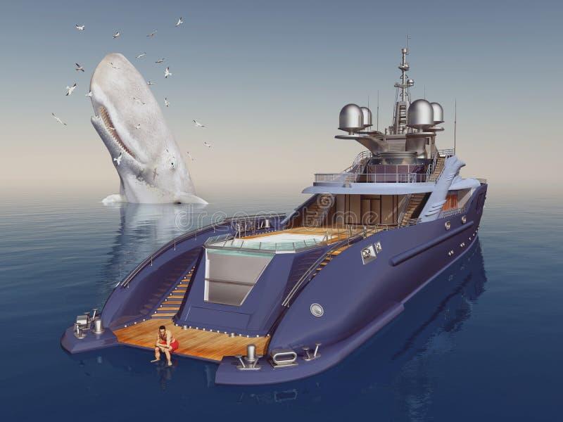 Luxejacht en potvis door zeemeeuwen wordt omringd die royalty-vrije illustratie