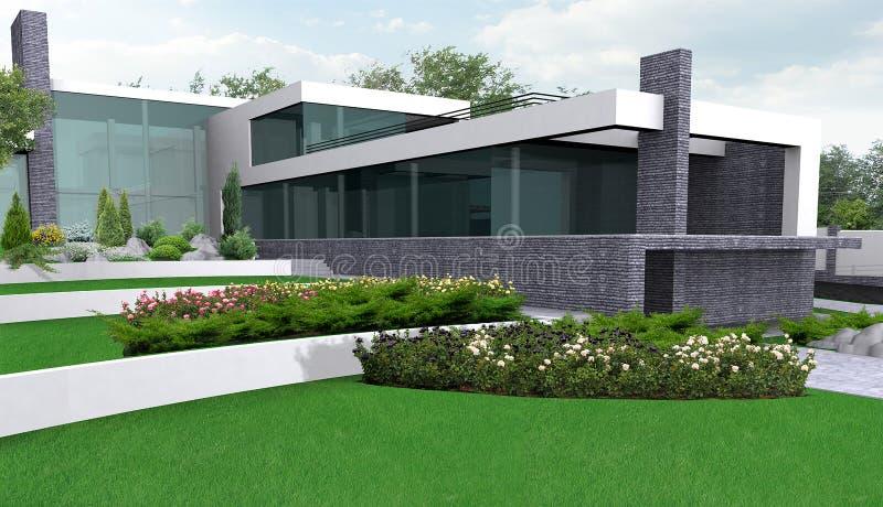 Luxelandgoed het tuinieren illustratie, 3d buitenkant met volledig vector illustratie