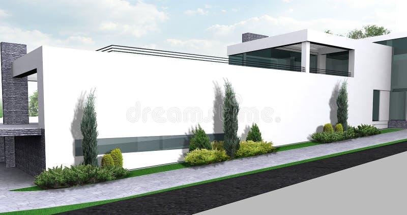 Luxelandgoed het tuinieren illustratie, 3d buitenkant met volledig stock illustratie